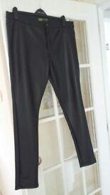 Ladies Black Leather Jeans Size 18
