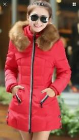 Ladies padded coat with fur hood size 12/14 new