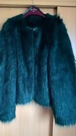Ladies faux fur blue/green coat