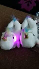 Light up unicorn slippers