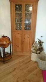 Large Pine corner display cabinet