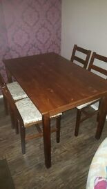 Solid Wood Dining Table and 4 Chairs - Dark Pine