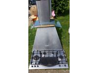 Gas cooker hob with steak plate