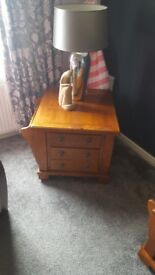 Occasional table, classic apothecary style, mango wood with storage drawers