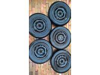Set of 5 Volkswagen Polo steel wheels with tyres