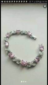 18k white gold filled pink sapphire crystal