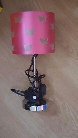 Pink butterfly bedside lamp