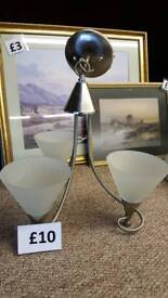 3 arm ceiling light with frosted glass shades