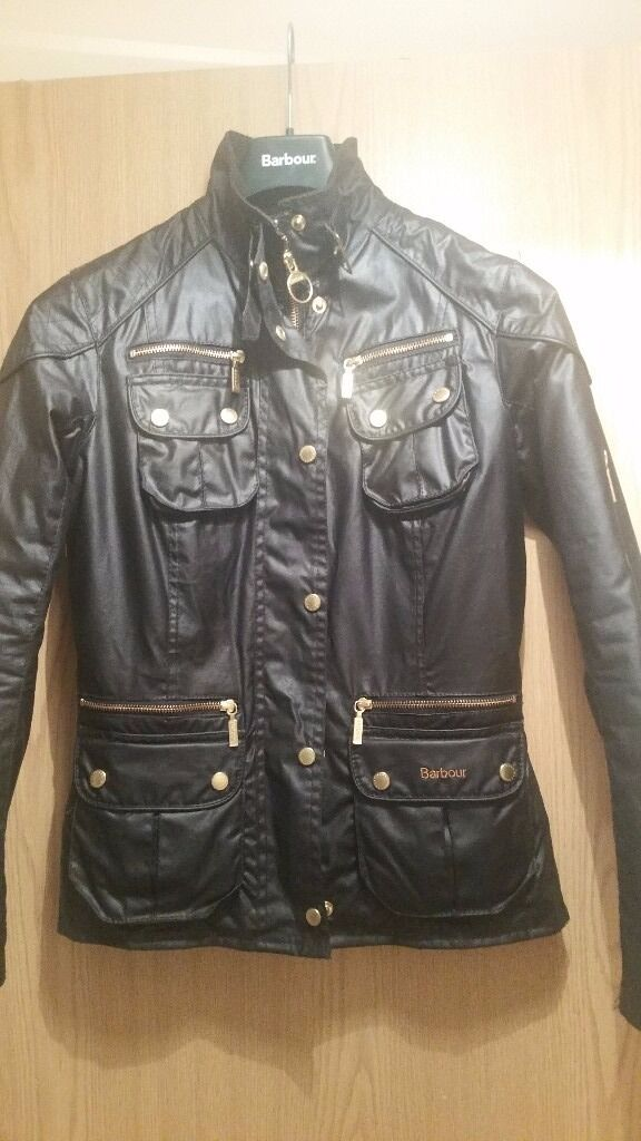 Womens black leather Barbour Jacket size 10in Northampton, NorthamptonshireGumtree - Gorgeous black leather Barbour Jacket Ladies size 10 Stand out gold detail Adjustable straps at the back Inside pocket Perfect condition!!! Never worn as i have it brown also. Very smart and stylish, great all weather jacket that keep outs the wind...
