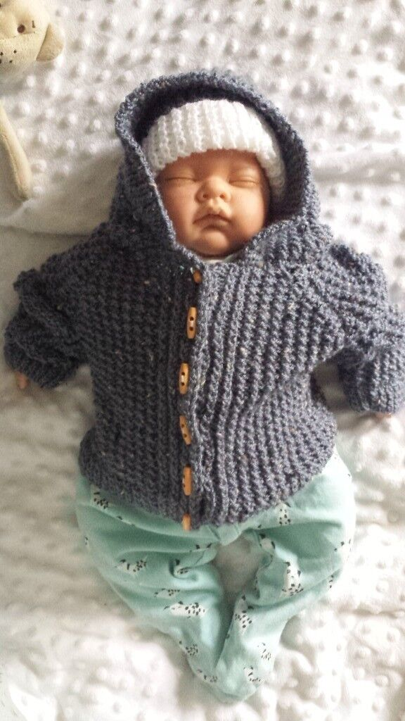 1eb678795 Hand made knitted boys hooded jacket coat cardigan and hat 0-3 ...