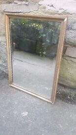Vintage Antique Retro French Wall Hanging Mirror Gilt Gilded Gold Framed Foxed Foxing