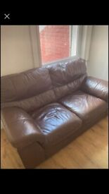 2 and 3 str brown leather sofas FREE