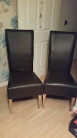 2x Chocolate Brown Dining Chairs