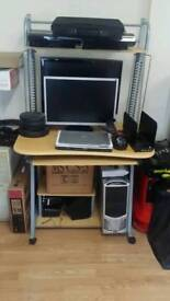 Computer desk & black leather chair for sale
