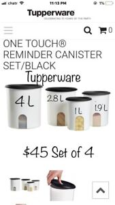 Tupperware One Touch Reminder Canister 4 pc Set