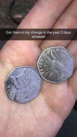 Peter rabbit and Tom kitten coins