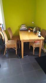 Solid wood kitchen table with 4 x chairs