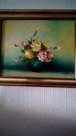 Original oil painting of vase of flowers old