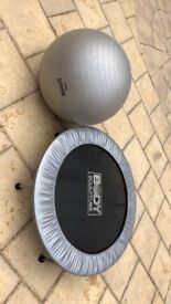 Exercise mini bouncer trampoline and Pilates gym ball