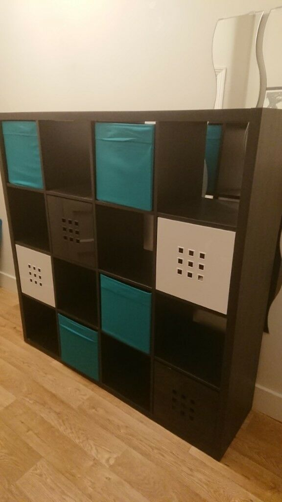 Ikea Box Shelving Unit Kallax With Storage Boxes Teal Black