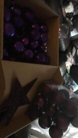 Collection of purple Xmas decorations