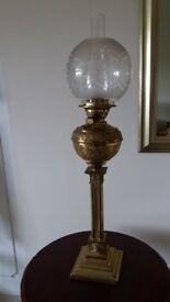Antique tall brass oil lamp with original etched shade