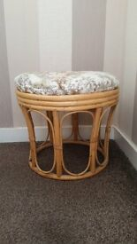 BAMBOO AND WICKER DRESSING TABLE STOOL WITH FLORAL CUSHION