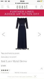 Navy lace coast dress and navy quiz sandals