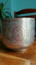 Vintage large brass plant pot
