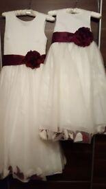 Beautiful Ivory/Merlot Bridesmaid Dresses - Age 8 and Age 14