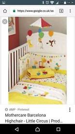 MOTHERCARE LITTLE CIRCUS COT BED BEDDING + ACCESSORIES