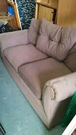 Brown 2 two seater fabric sofa