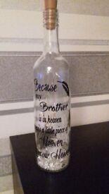 Decorative upcycled led wine bottle