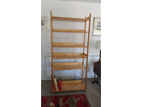Bookcase solid pine, adjustable shelves, good condition, easily dismantled for transport