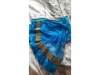 Blue gold and silver asian dresss