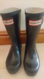 Girls HUNTER Black Glitter Wellies, uk size 12. Collection from Wideopen, or can deliver