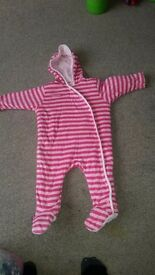 9-12 months girls pink stripe thick jersey all in one