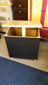 Large Sold Wood Storage Box with Hinged Lid and Blackboard Painted Sides