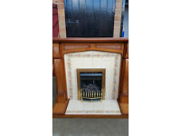 GAS COAL FIRE WITH TILED SURROUND AND HEARTH