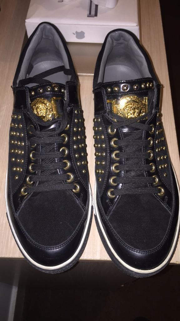 1bffa92826179 Versace Black   Gold Shoes