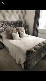 Double sleigh bed frame in crushed velvet