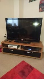 TV Stand walnut veneer and black gloss
