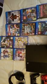 Sony playstation 4 with 10 games including gta v and fifa 17 2 pads and a turtle beach headset