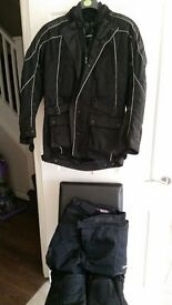 Mens Frank Thomas Weatherproof Motorcycle Set (Jacket & Trousers) Size Small