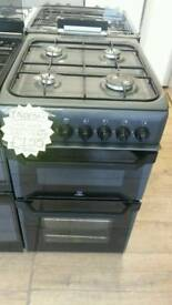 INDESIT 50CM GAS DOUBLE OVEN COOKER IN BLACK