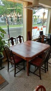 Antique Walnut Dining Table and Four Chairs