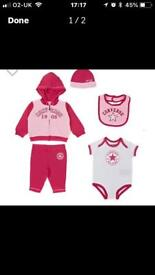 8e210ae1d92 Converse Baby Girl full set. Outfit babygrow bib hat   socks Pink   White 3