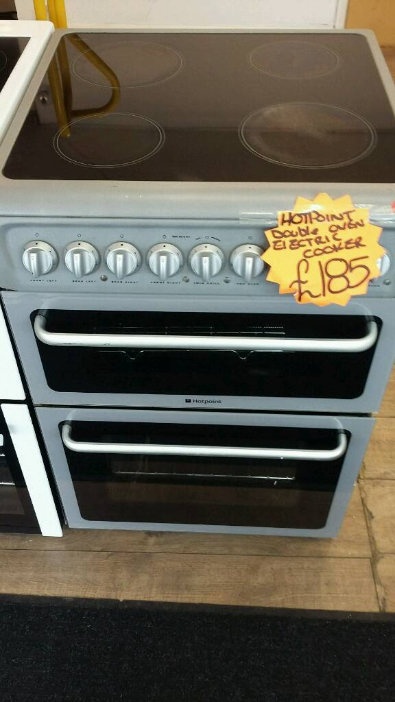 HOTPOINT SILVER 60CM WIDE DOUBLE OVEN ELECTRIC COOKER