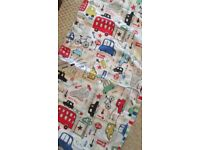 Next boys toddler bedding set with light shade and curtains