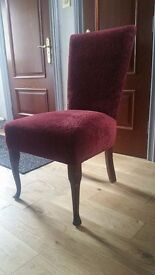 Dining chairs X 6. 6 matching dining room chairs padded, ruby red colour. Very Comfortable.